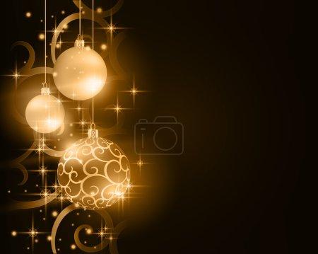 Dark golden Christmas bauble background