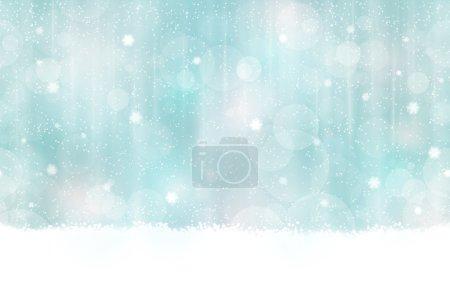 Illustration pour Fond abstrait aux couleurs hivernales avec des points clairs flous. Les chutes de neige et les effets de lumière lui donnent une sensation rêveuse et douce et une lueur parfaite pour la saison de Noël festive. Sans couture horizontalement - image libre de droit