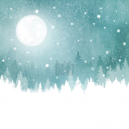 Abstract winter background with rows of fir trees,...