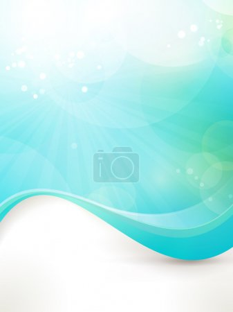 Illustration for Abstract design background in shades of blue and green. Fitting for fresh, clean concept, sun, water, under water, etc - Royalty Free Image