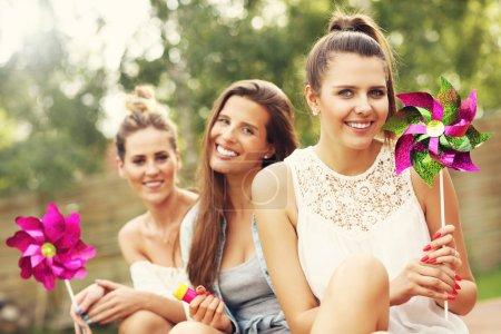 Happy friends having fun outdoors