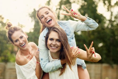 Photo for Picture presenting happy group of women having fun outdoors - Royalty Free Image