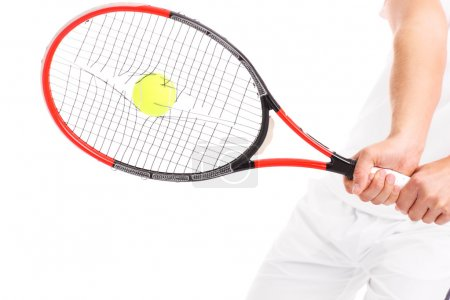 Tennis racket with broken strings