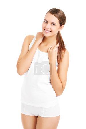 Happy woman in underwear