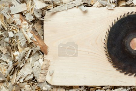 Photo for Carpenter tools on wooden table with sawdust. Carpenter workplace top view - Royalty Free Image