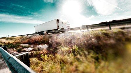 .Trucks and road