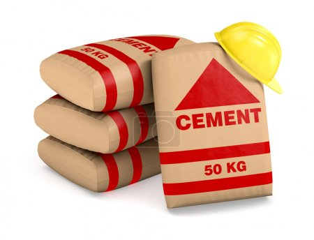 Photo for Bags of cement and a safety helmet on white background (3d render) - Royalty Free Image
