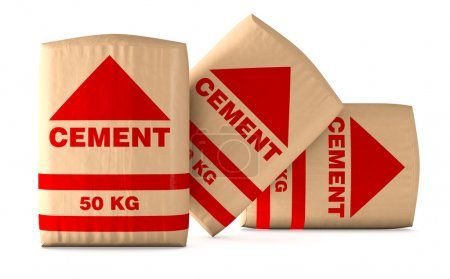 Photo for Front view of bags of cement on white background (3d render) - Royalty Free Image