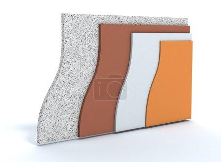 Foto de Paneles para aislamiento térmico de un muro, todas las capas visible (3d render) - Imagen libre de derechos