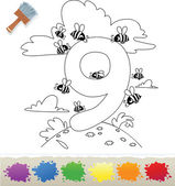 Collection Coloring Book for Kids: Number 9 Bee