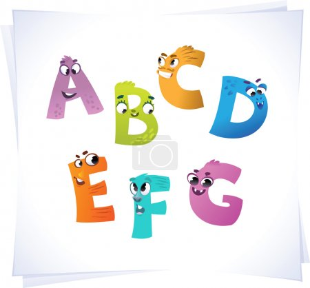 Alphabet for the kids: funny letters cartoon A-G