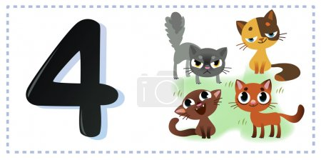 Collection number for kids: farm animals - number four, cats. Ve
