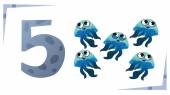 Collection number for kids: Sea animals - number 5 Jellyfish V