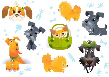 Set of vector cute dogs