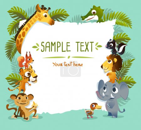 Illustration for Template Poster with zoo animals. - Royalty Free Image