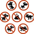 Set of information signs for dog owners. isolated ...