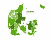 Denmark map with regions