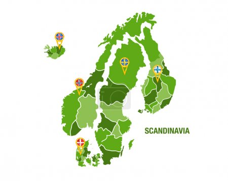 Scandinavia map with flags