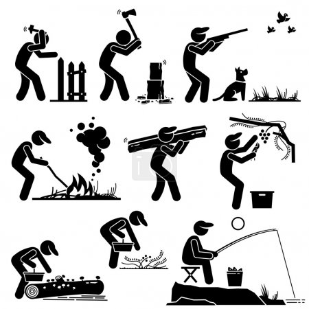 Illustration for Set of vector stick man pictogram representing man living in a rural area by building his own house, chopping woods, hunting, fishing, and gathering fruits and herbs from the forest so that he can survive and lives on. - Royalty Free Image