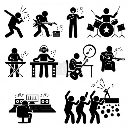 Rock Star Musician Music Artist with Musical Instruments Stick Figure Pictogram Icons