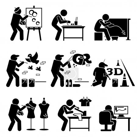Illustration for Vector set stick figure pictogram representing artist painting, drawing, and designing on easel, table, batik, wall, floor, shirt, and computer. - Royalty Free Image