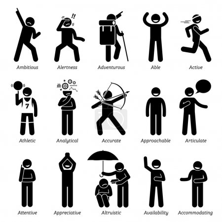 Positive Good Personalities Character Traits. Stick Figures Man Icons. Starting with the Alphabet A.