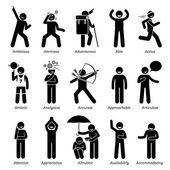 Positive Good Personalities Character Traits Stick Figures Man Icons Starting with the Alphabet A