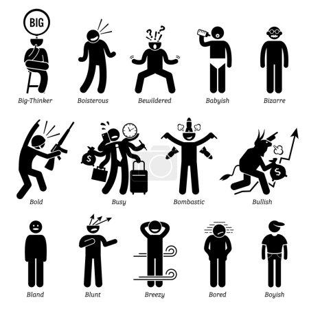 Illustration for Neutral personalities traits, attitude, and characteristic. Big-thinker, boisterous, bewildered, babyish, bizarre, bold, busy, bombastic, bullish, bland, blunt, breezy, bored, and boyish. - Royalty Free Image