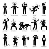 Negative Personalities Character Traits Stick Figures Man Icons Starting with the Alphabet C