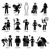 Negative Personalities Character Traits. Stick Figures Man Icons. Starting with the Alphabet C.