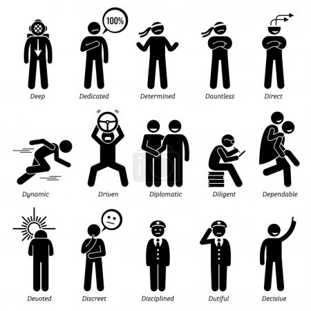 Positive Personalities Character Traits. Stick Figures Man Icons. Starting with the Alphabet D.