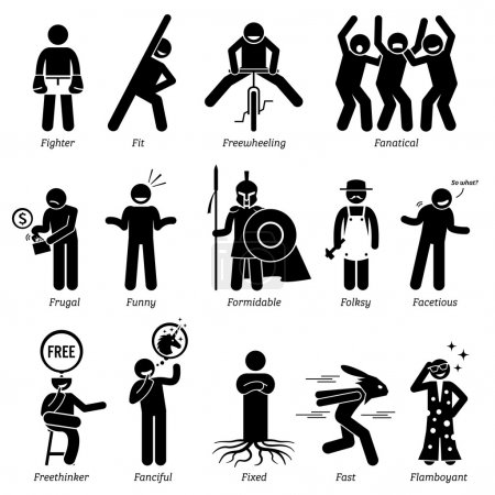 Neutral Personalities Character Traits. Stick Figures Man Icons. Starting with the Alphabet F.
