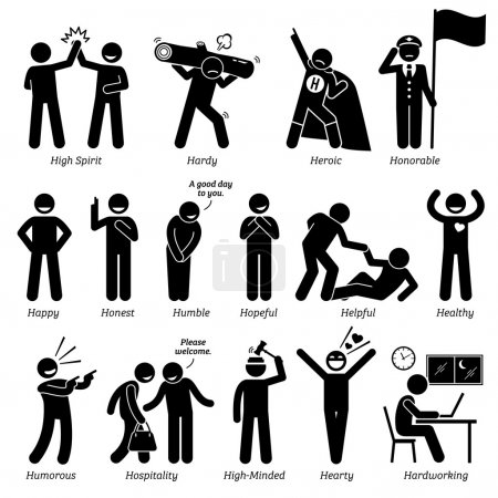 Illustration for Positive personalities traits, attitude, and characteristic. High spirited, hardy, heroic, honorable, happy, honest, humble, hopeful, helpful, healthy, humorous, hospitality, high-minded, hearty, and hardworking. - Royalty Free Image