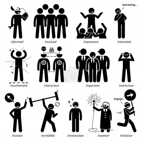 Positive Personalities Character Traits. Stick Figures Man Icons. Starting with the Alphabet I.