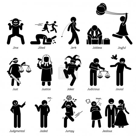 Positive Negative Neutral Personalities Character Traits. Stick Figures Man Icons. Starting with the Alphabet J.