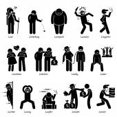 Negative Personalities Character Traits Stick Figures Man Icons Starting with the Alphabet L