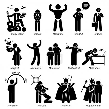 Positive Personalities Character Traits. Stick Figures Man Icons. Starting with the Alphabet M.