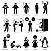 Positive Negative Neutral Personalities Character Traits Stick Figures Man Icons Starting with the Alphabet Q