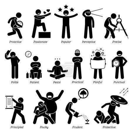 Illustration pour Personnalités positives traits, attitude et caractéristiques. Proactif, passionné, populaire, perspicace, précis, poli, patient, paix, pratique, plané, ponctuel, fondé sur des principes, courageux, prudent et protecteur . - image libre de droit