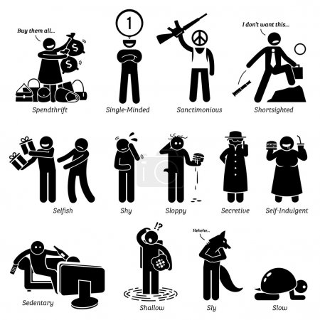 Negative Personalities Character Traits. Stick Figures Man Icons. Starting with the Alphabet S.