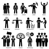 Positive Neutral Personalities Character Traits Stick Figures Man Icons Starting with the Alphabet U