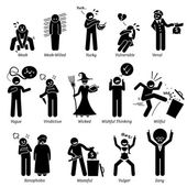 Negative Personalities Character Traits Stick Figures Man Icons Starting with the Alphabet V W X Y and Z