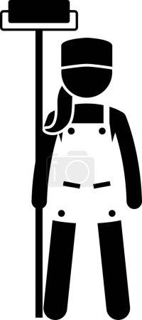 Photo pour Industrial and Constructions Jobs, Works, and Occupations for Women. Oeuvres d'art représentant femme ingénieur, femme architecte, constructeur, fille technicienne, dame peintre et femme constructeur. - image libre de droit