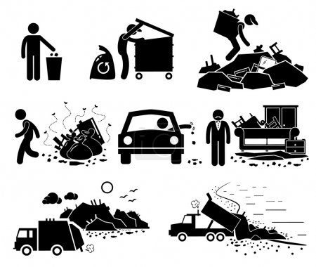 Illustration for A set of human pictogram representing rubbish and trash thrown by irresponsible people. It also represent some good people trying to recycle the garbage from dump site. - Royalty Free Image