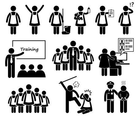 Illustration pour Un ensemble de pictogramme humain représentant une femme de ménage étrangère travaillant sur divers types de travail. Elle a également été maltraitée par son employeur avant que celui-ci ne soit arrêté par la police. . - image libre de droit