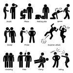 A set of human pictogram representing human action...