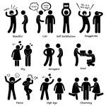A set of human pictogram representing human behavi...