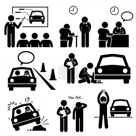 Man Getting Car License from Driving School Lesson Stick Figure Pictogram Icons