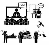 Business Video Conferencing and Man Using Satellite Phone Stick Figure Pictogram Icons