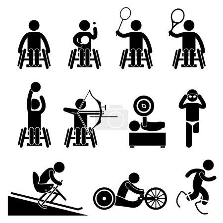 Illustration pour Un ensemble de pictogrammes humains représentant des sports paralympiques handicapés tels que le tennis de table, le badminton, le tennis, le basket-ball, le tir à l'arc, l'haltérophilie, la natation, le ski, la course sur piste, la course et le sprint. . - image libre de droit